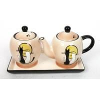 "Набор чайник и сахарница на керамической подставке ""Кошки"""