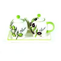 "Набор чайник и сахарница на керамической подставке  ""Оливки"""